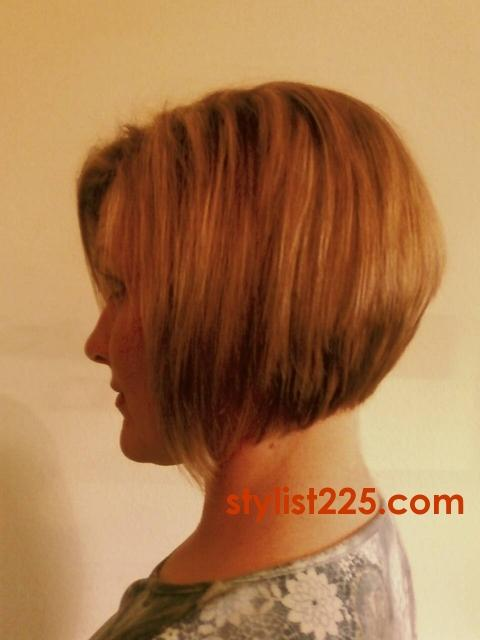 Highlites and Inverted Bob haircut on naturally fine hair with very slight