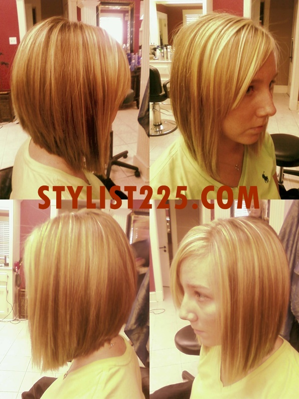 Long Inverted Bob, long enough to pull back into a low ponytail. We