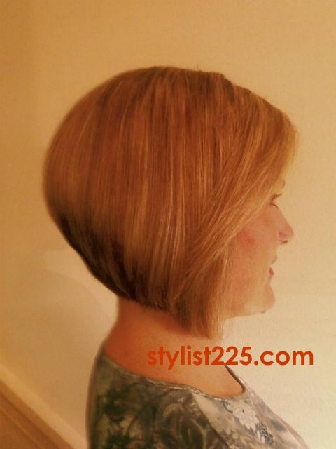 Below Chin Graduated A Line Bob Haircut Front Back Side View